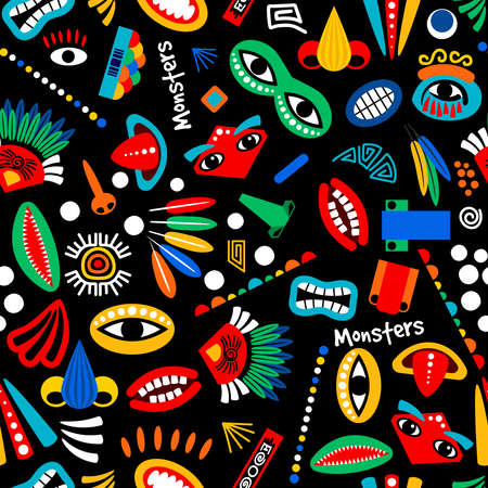 Tribal monster seamless pattern. Boy or kids party cute background with feathers, eyes and mouths