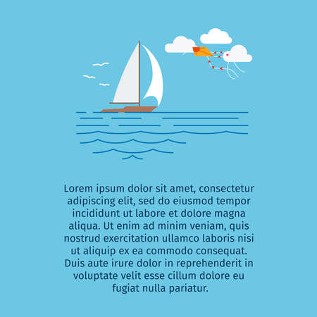 Ship at sea vector illustration for tourizm infographic