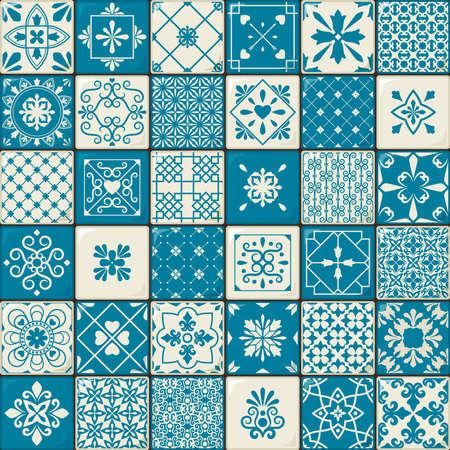 Ceramic tile set. Vintage oriental moroccan style tiles patterns or spanish flowers decorative motifs. Vector illustration
