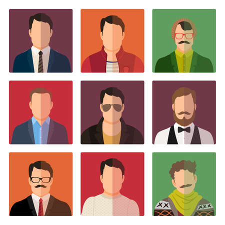Vector male avatar icons set in casual style