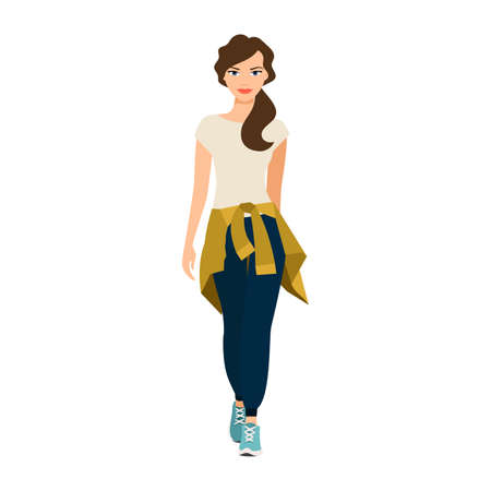 Girl with a knitted sweater on her belt isolated vector illustration on white background Vector Illustratie