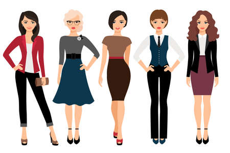 Cute young women in different style clothes vector illustration. Businesswoman and office girl character isolated on white background