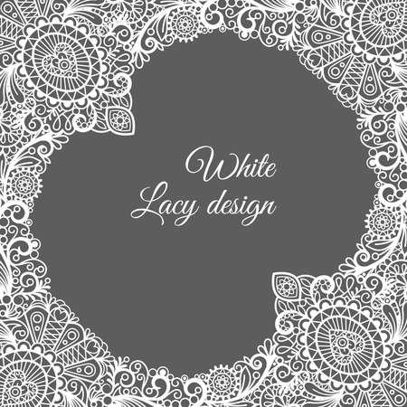 White lacy ornamental card design on gray background with space for text. Vector illustration Vector Illustration