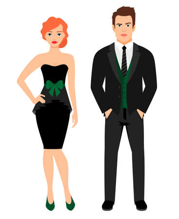 Young couple in black fashion outfit. Woman in little black dress and man in vest and jacket, vector illustration Vettoriali
