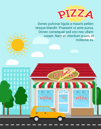 Pizza advertising banner with shop building and landscape, vector illustration
