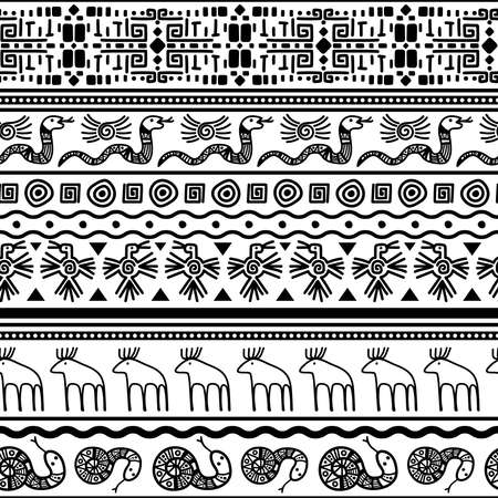 Tribal mexican seamless pattern. Vector floral and animals textile mexico or african fashion print texture background. Vector illustration