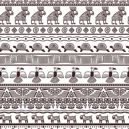 Ethnic aztecs or peruvian pattern template. Vector tribal black borders fabric with mexican indian texture