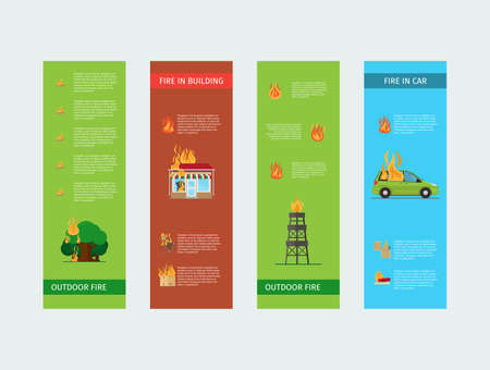 Fire risk vertical flyers. Fire in home and building, outdoor and in the car. Vector illustration