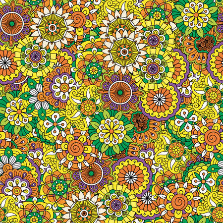 Floral decorative pattern with different color mandala style flowers. Vector illustration