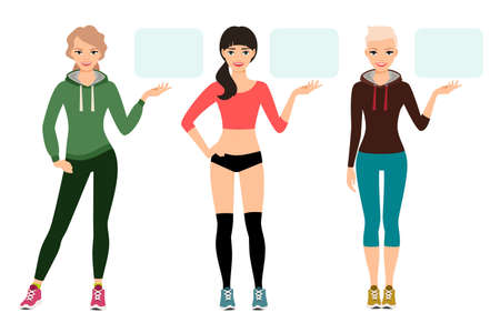 Young woman in sportswear presentation vector illustration. Female fitness model shows sports product isolated on white background