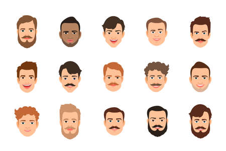 Human face set vector illustration. Male portrait or young man faces with various hairstyle Vektorgrafik