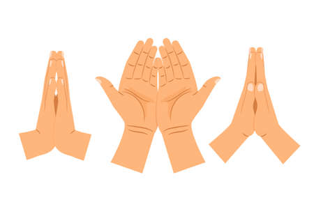 Religion praying hands isolated on white background. Folded clasped hands vector illustration Vettoriali