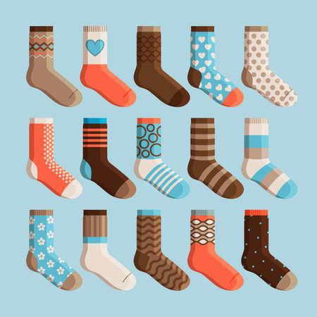 Colorful cartoon cute stylized socks. Kids wear, socks set vector illustration