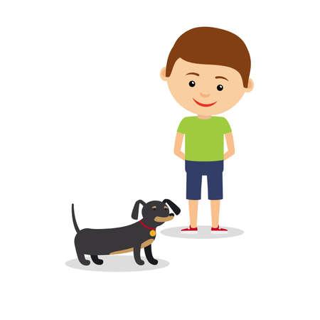 Little boy with dachshund