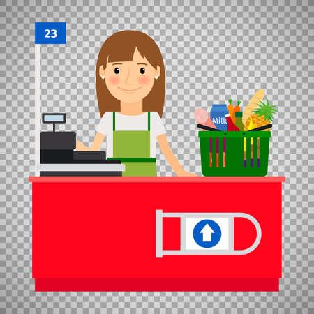 Cashier lady on transparent background