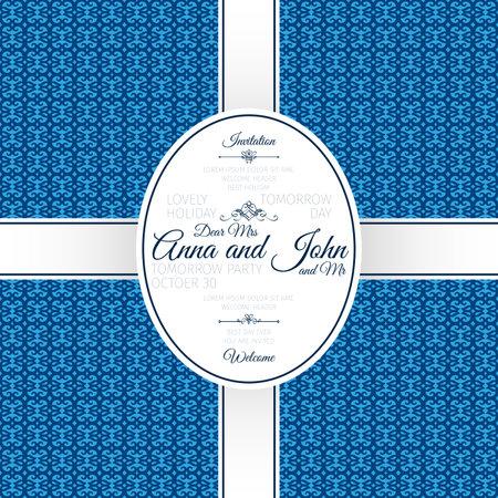 Invitation card with blue geometric pattern