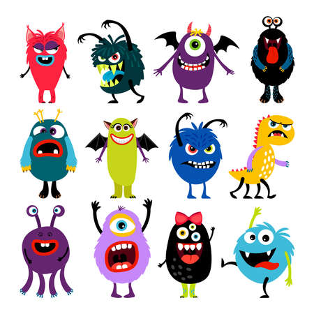 Cute cartoon mosters collection Vektorové ilustrace