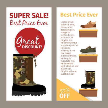 Mens military autumn boots vertical flyers Vetores