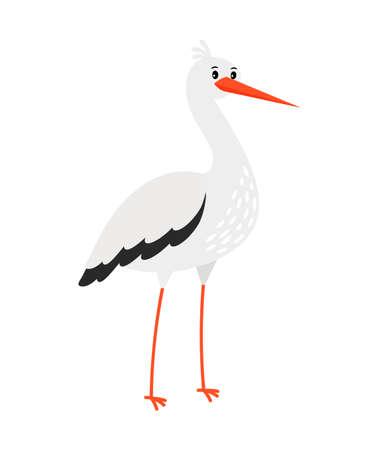 Stork cartoon bird Ilustración de vector