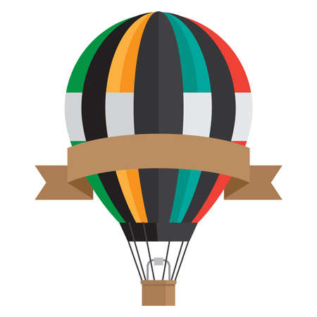 Vintage style aerostat with ribbon banner - vector hot air balloon isolated on white background. Illustration of inflate aerostat, air balloon journey