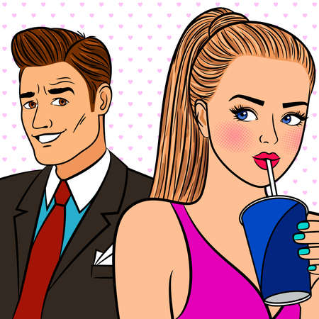 Girl flirtng with man. Sexy lady with drink and businessman pop art style vector illustration Vecteurs