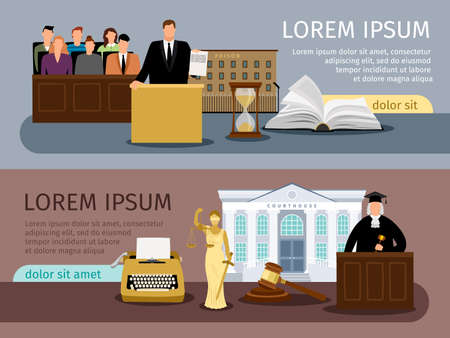 Justice banners. Vector law and courtroom banner set, legal system concept backgrounds