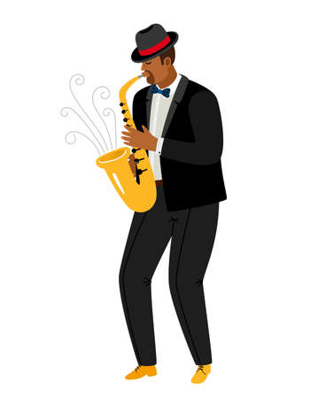 Jazz saxophonist plays saxophone isolated on white. Performance of talented musician. Vector illustration