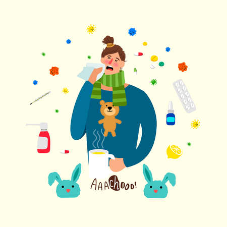Cartoon ill woman. Sick female person with cold and flu, girl with heat illness, medications and headache vector cartoon concept Vector Illustration