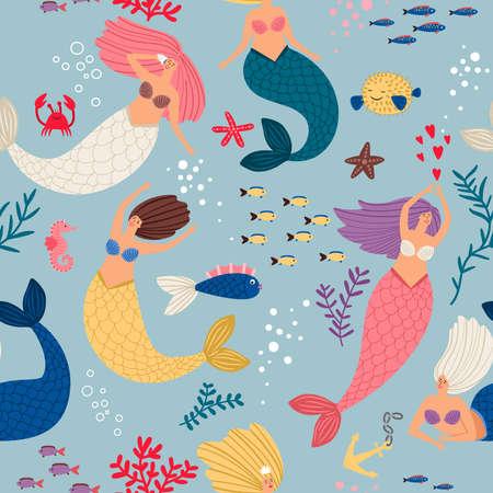Mermaid girls pattern. Cute mermaids, algae and corals seamless pattern, ocean underwater magic female swimmers vector illustration