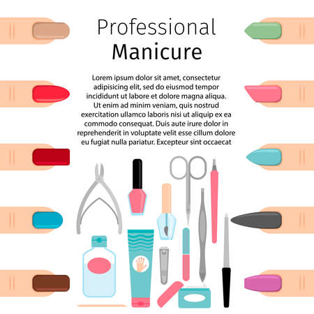 Professional manicure vector banner or poster template with manicure tools