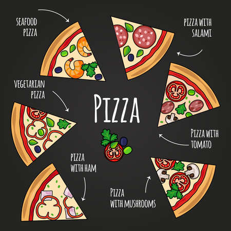 Pizza slices. Blackboard pizzeria menu. Colorful pizza slice icons with text vector set on black background