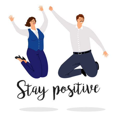 Positive jumping people. Positive inspiration vector poster with happy man and woman