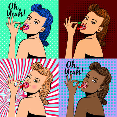 Pop art style lady with cherry vector illustration. Cute girl cards design