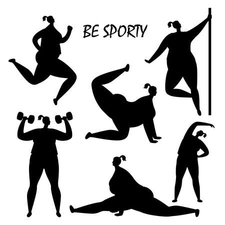 Black women training silhouettes vector isolated on white background. Illustration of sport woman silhouette, female training