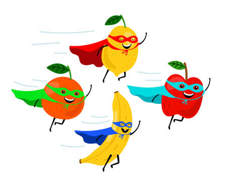 Super fruits. Smiling fruit superheroes vector illustration, colorful funny vegetarian food super heroes, cartoon fruity characters