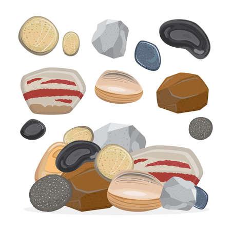 Cartoon stone set and stone rock vector illustration