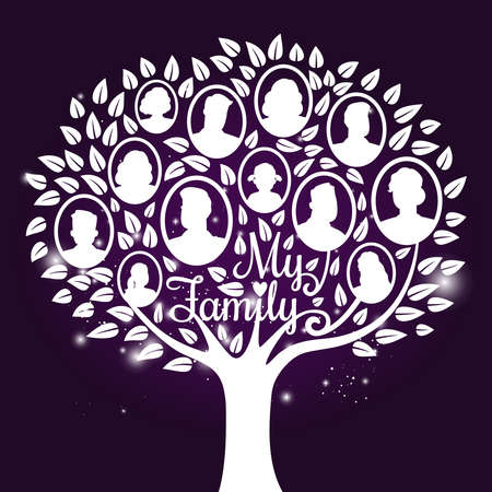 Vector genealogy tree with shine elements. Genealogical family tree vector illustration