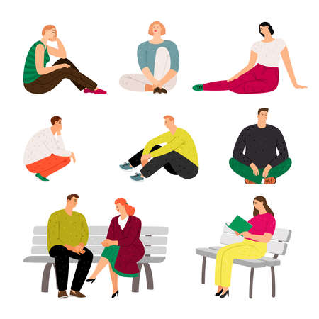 Resting people. Sitting and relaxing casual men and women vector illustration, variety rested characters in holiday, at home sofa, on park bench, happy rest persons isolated on white