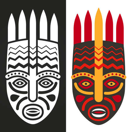 Tribal maya, african masks vector illustration, black and white and colorful Ilustración de vector