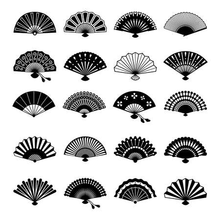 Oriental fans silhouettes. Vector chinese or japanese paper fan symbols isolated on white background Vektorgrafik