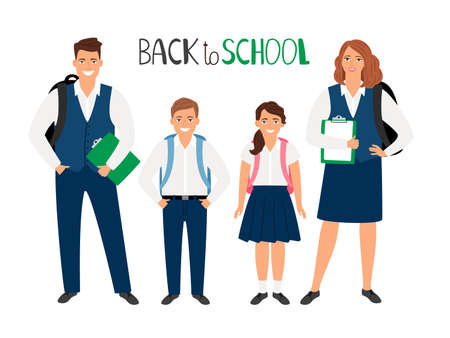 School students boys and girld, different ages on white background, back to school vector illustration
