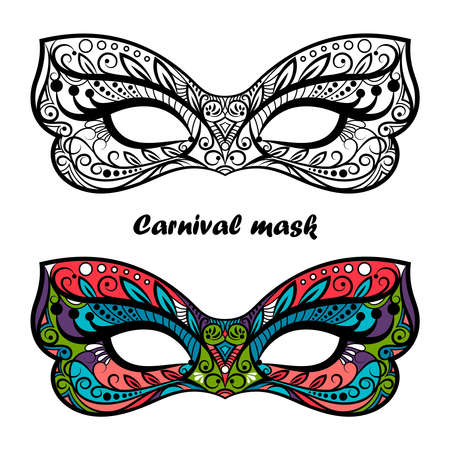 Coloring page carnival masks isolated on white background. Festive masks vector design Vettoriali