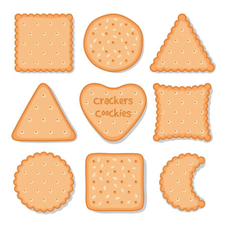 Biscuit cookie snacks. Vector cookies biscuits for teatime isolated on white, breakfast dessert pastry, homemade pie chips icons