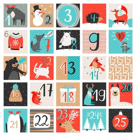 Advent calendar. December countdown calendar vector illustration, christmas eve creative winter cartoon background set with numbers Vector Illustratie