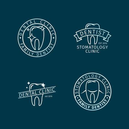 Stomatology, dental clinic line blue vector logo templates