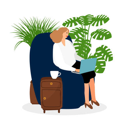 Female freelancer working in the chair vector illustration. Online job concept. Woman work freelance, workplace with laptop Ilustración de vector