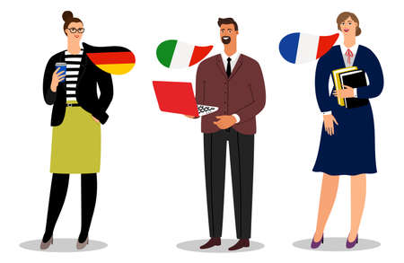 International business team vector isolated on white background. Illustration of business people team, businessman communication italian and french and german