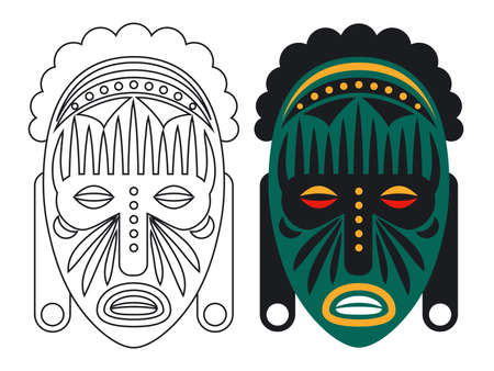 Coloring mask vector illustration. Outline and color african mask isolated on white background