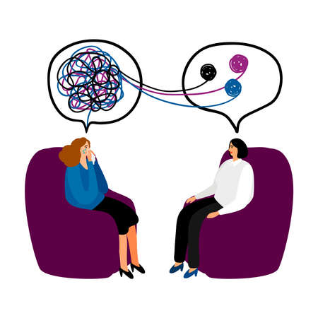 Psychotherapy. Woman psychologist with tangled and untangled brain metaphor, society psychiatry concept vector illustration 向量圖像