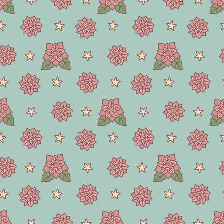 Vintage fashion floral seamless pattern. Retro style texture with roses and stars, vector illustration